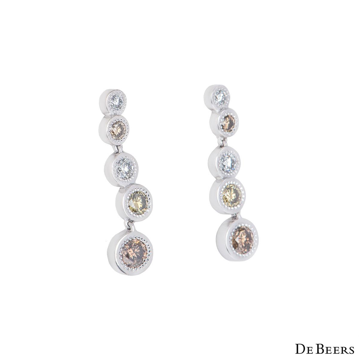 De Beers White Gold Aura Love Journey Diamond Earrings 1.48ct G+/VS+
